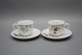 Tasse hoch 0,14l und Untertasse Opal Blumenwiese Motiv C HBB