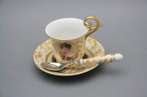 Tasse 0,15l mit der Untertasse Wien und mit dem Teelöffel Porträt