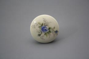 Porzellanknopfgriff 35mm ECRU Hellblaue Rose