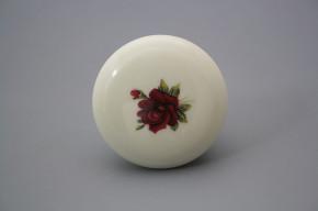 Porzellanknopfgriff 45mm ECRU Rose Elizabeth rote