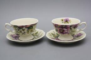 Teetasse 0,2l und Untertasse Alaska ECRU Stiefmütterchen IBB