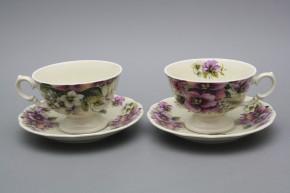 Teetasse 0,2l und Untertasse Alaska ECRU Stiefmütterchen EBB