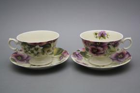 Teetasse 0,2l und Untertasse Alaska ECRU Stiefmütterchen CBB