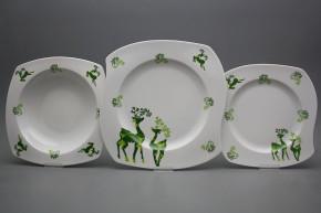 Tellerset Eureka Reindeers Green 12teiliges BB