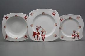 Tellerset Eureka Reindeers Red 24teiliges BB