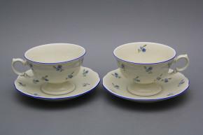 Teetasse 0,2l und Untertasse Alaska ECRU Vergissmeinnicht AL Streuer