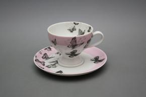 Teetasse 0,15l und Untertasse Christine Schwarze Schmetterlinge LP
