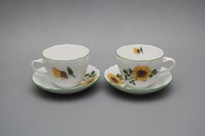 Tasse und Untertasse A2A1 Rokoko Sonnenblumen ZL