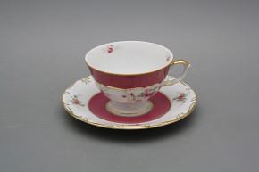 Teetasse 0,18l und Untertasse mit Name Marie Teresa Rosarote Rosen DPGL